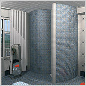 Space-saving corner shower