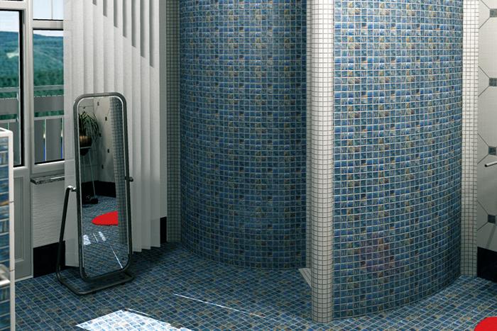 Douche italienne quart de rond et barre de rideau de of for Rideau douche italienne