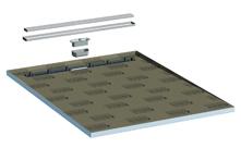 Shower Base Element With Floor Channel Drain, Rectangular